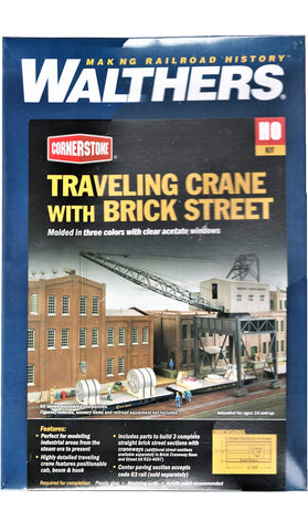 HO Scale Walthers Cornerstone 933-4096 Traveling Crane with Brick Street Kit