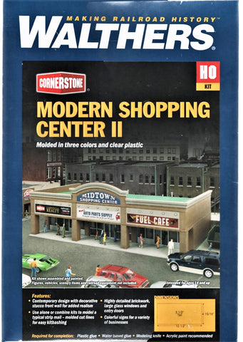 HO Scale Walthers Cornerstone 933-4116 Modern Shopping Center II Building Kit