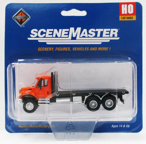 HO Scale Walthers SceneMaster 949-11651 Orange International 7600 3-Axle Flatbed Truck