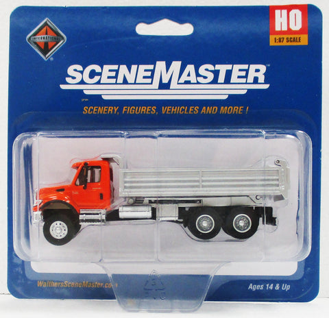 HO Scale Walthers SceneMaster 949-11661 Orange International 7600 3 Axle Dump Truck
