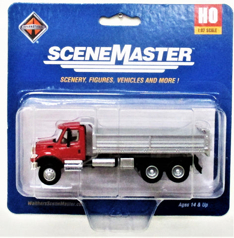HO Scale Walthers SceneMaster 949-11662 Red International 7600 3 Axle Dump Truck