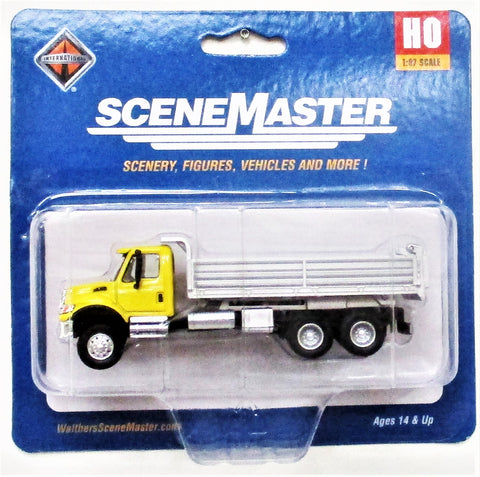 HO Scale Walthers SceneMaster 949-11663 Yellow International 7600 3 Axle Dump Truck