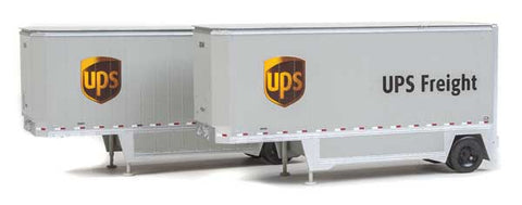 HO Scale Walthers SceneMaster 949-2551 UPS United Parcel Service w/Shield Logo 26' Drop-Floor Trailers