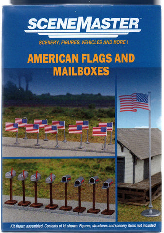 HO Scale Walthers SceneMaster 949-4166 50-Star American Flags and USPS Mailboxes