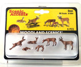 HO Scale Woodland Scenics A1884 White Tail Deer Figures (6) pcs
