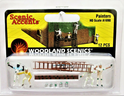 HO Scale Woodland Scenics A1890 House Painters Figures (12) pcs