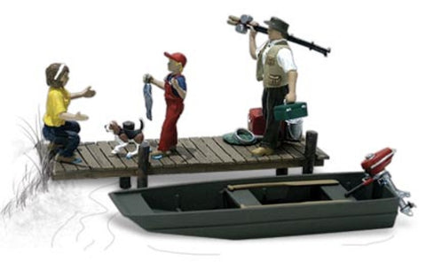 HO Scale Woodland Scenics A1923 Family Fishing (5) pcs