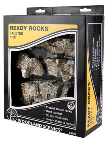 Woodland Scenics C1137 Terrain System Faceted Ready Rocks (8) pcs