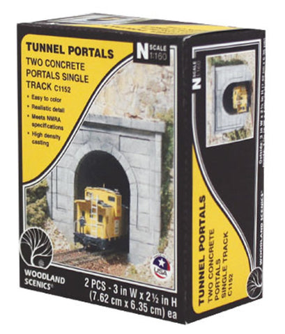 N Scale Woodland Scenics C1152 Concrete Single Track Tunnel Portal (2) pcs