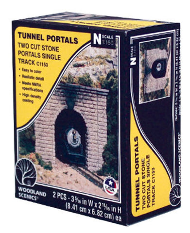 N Scale Woodland Scenics C1153 Cut Stone Single Track Tunnel Portal (2) pcs