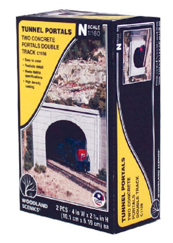 N Scale Woodland Scenics C1156 Concrete Double Track Tunnel Portal (2) pcs