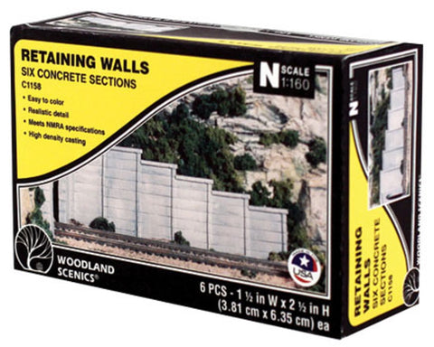 N Scale Woodland Scenics C1158 Concrete Retaining Wall (6) pcs