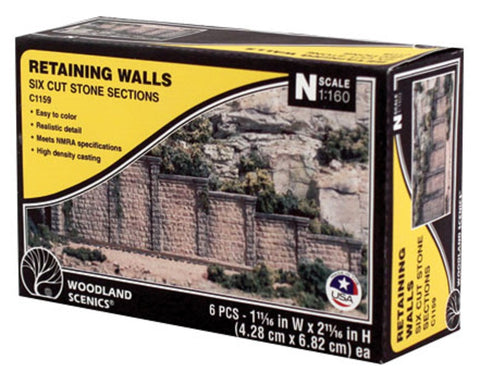 N Scale Woodland Scenics C1159 Cut Stone Retaining Wall (6) pcs