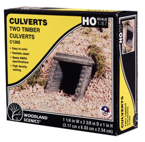 HO Scale Woodland Scenics C1265 Timber Culvert (2) pcs
