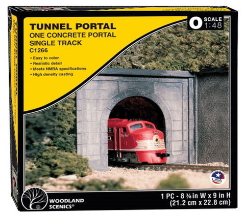 O Scale Woodland Scenics C1266 Concrete Single Track Tunnel Portal