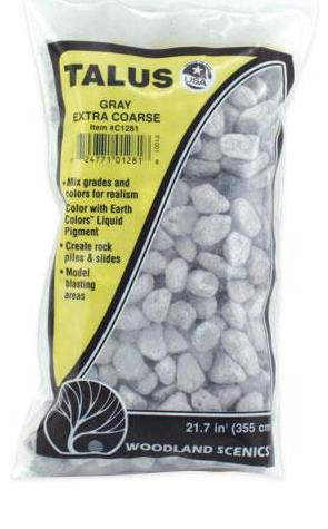 Woodland Scenics C1281 Extra Coarse Gray Talus Rock 25 Cubic Inch Bag