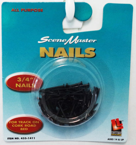 "HO Scale Walthers Life-Like 433-1411 3/4"" 1.9cm Track Nails for Cork"