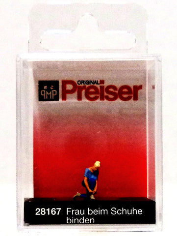 HO Scale Preiser Kg 28167 Woman Tying Her Shoes Figure
