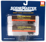 HO Scale Walthers SceneMaster 949-2416 Illinois Central Fluted-Side 35' Trailers