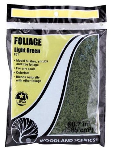 Woodland Scenics F51 Light Green Foliage 72 sq in Bag