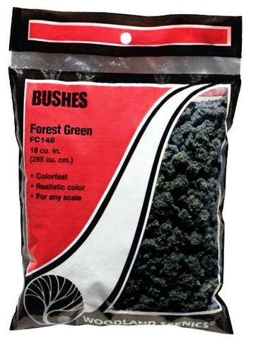 Woodland Scenics FC148 Forest Green Bushes 25.2 Square Inch Bag