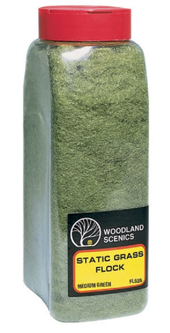 Woodland Scenics FL635 Medium Green Static Grass Flock Shaker 57.7 cu in (945 cu cm)