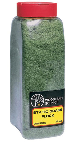 Woodland Scenics FL636 Dark Green Static Grass Flock Shaker 57.7 cu in (945 cu cm)