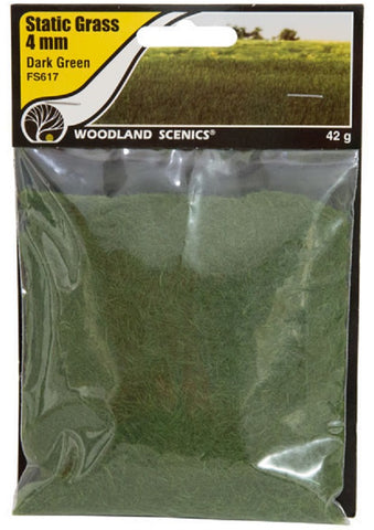 "Woodland Scenics FS617 Field System Static Grass Dark Green 1/8"" 4mm Fibers"