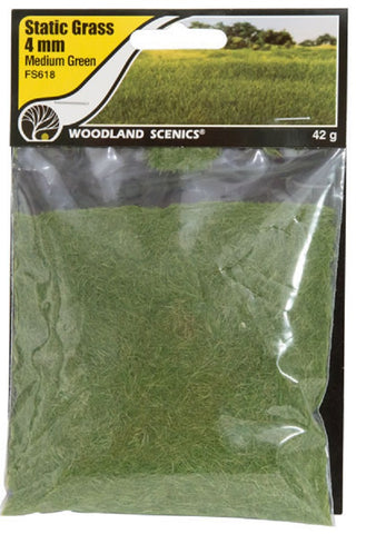 "Woodland Scenics FS618 Field System Static Grass Medium Green 1/8"" 4mm Fibers"