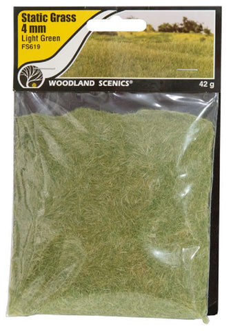 "Woodland Scenics FS619 Field System Static Grass Light Green 1/8"" 4mm Fibers"