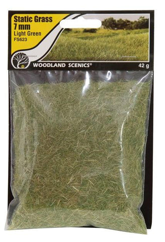 "Woodland Scenics FS623 Field System Static Grass Light Green 1/4"" 7mm Fibers"