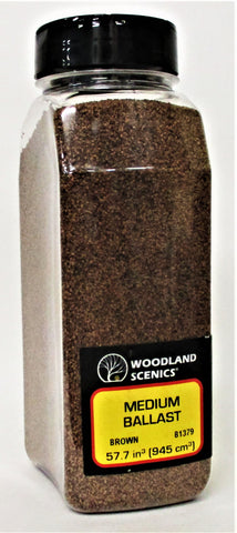 Woodland Scenics B1379 Brown Medium Ballast Shaker 57.7 cu in (945 cu cm)