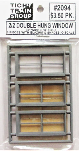 O Scale Tichy Train Group 2094 2-2 Double-Hung Window w/Glazing & Shades (6) pcs
