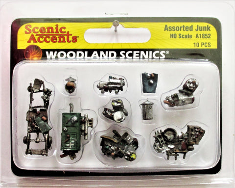 HO Scale Woodland Scenics A1852 Assorted Junk Details/Figures (10) pcs