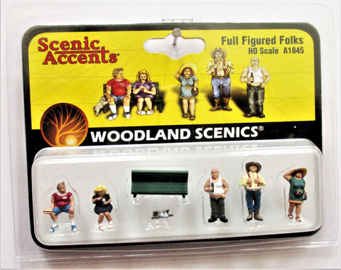 HO Scale Woodland Scenics A1845 Full Figured Folks Figures (7) pcs