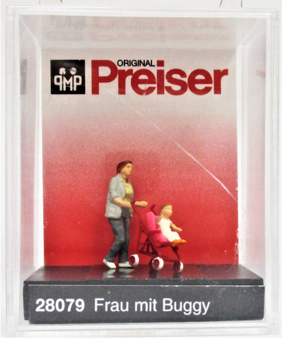 HO Scale Preiser Kg 28079 Mom/Woman Pushing Child in Stroller Figure
