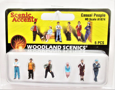 HO Scale Woodland Scenics A1874 Casual People Figures (6) pcs