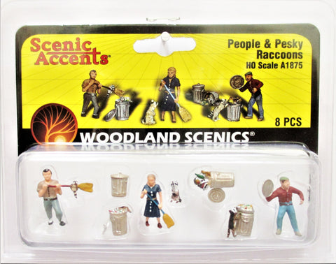 HO Scale Woodland Scenics A1875 People & Pesky Raccoons Figures (8) pcs