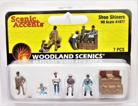 HO Scale Woodland Scenics A1877 Shoe Shiners Stand Figures (7) pcs