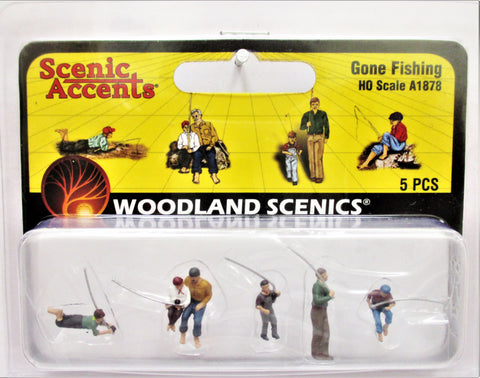 HO Scale Woodland Scenics A1878 Gone Fishing Figures (5) pcs
