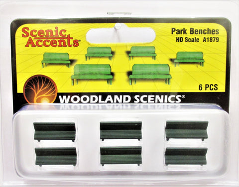 HO Scale Woodland Scenics A1879 Park Benches (6) pcs