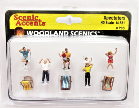 HO Scale Woodland Scenics A1881 Spectators Figures (8) pcs