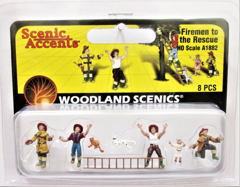 HO Scale Woodland Scenics A1882 Firemen to the Rescue Figures (8) pcs