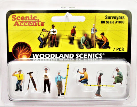 HO Scale Woodland Scenics A1883 Surveyors Crew Figures (7) pcs