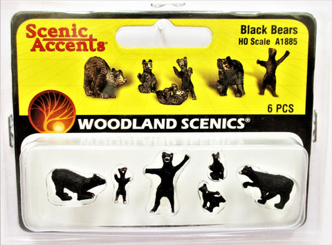 HO Scale Woodland Scenics A1885 Black Bears Figures (6) pcs