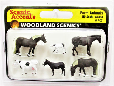 HO Scale Woodland Scenics A1888 Farm Animals Figures (6) pcs