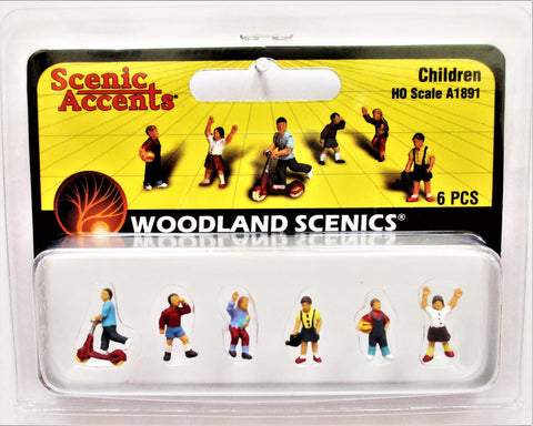 HO Scale Woodland Scenics A1891 Children Figures (6) pcs