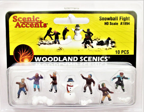 HO Scale Woodland Scenics A1894 Kids/Children Snowball Fight Figures (10) pcs