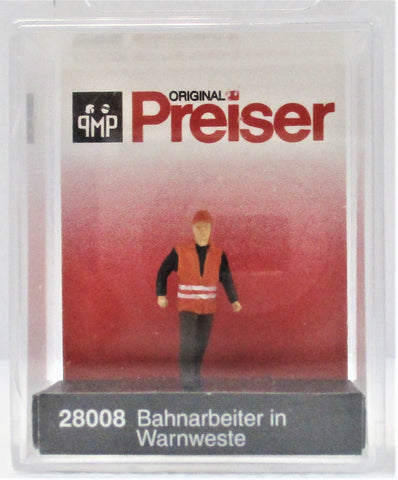 HO Scale Preiser Kg 28008 Railroad Modern Switchman w/Safety Vest
