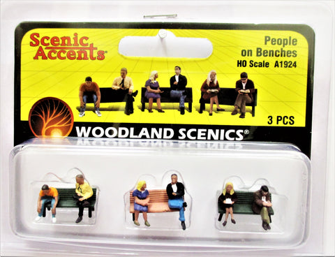 HO Scale Woodland Scenics A1924 People on Benches Figures (3) pcs